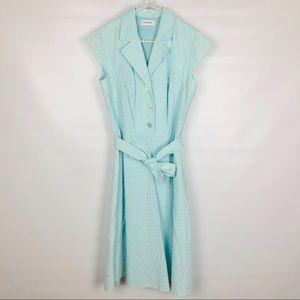 CALVIN KLEIN | Sleeveless Blue Midi Dress- 0248